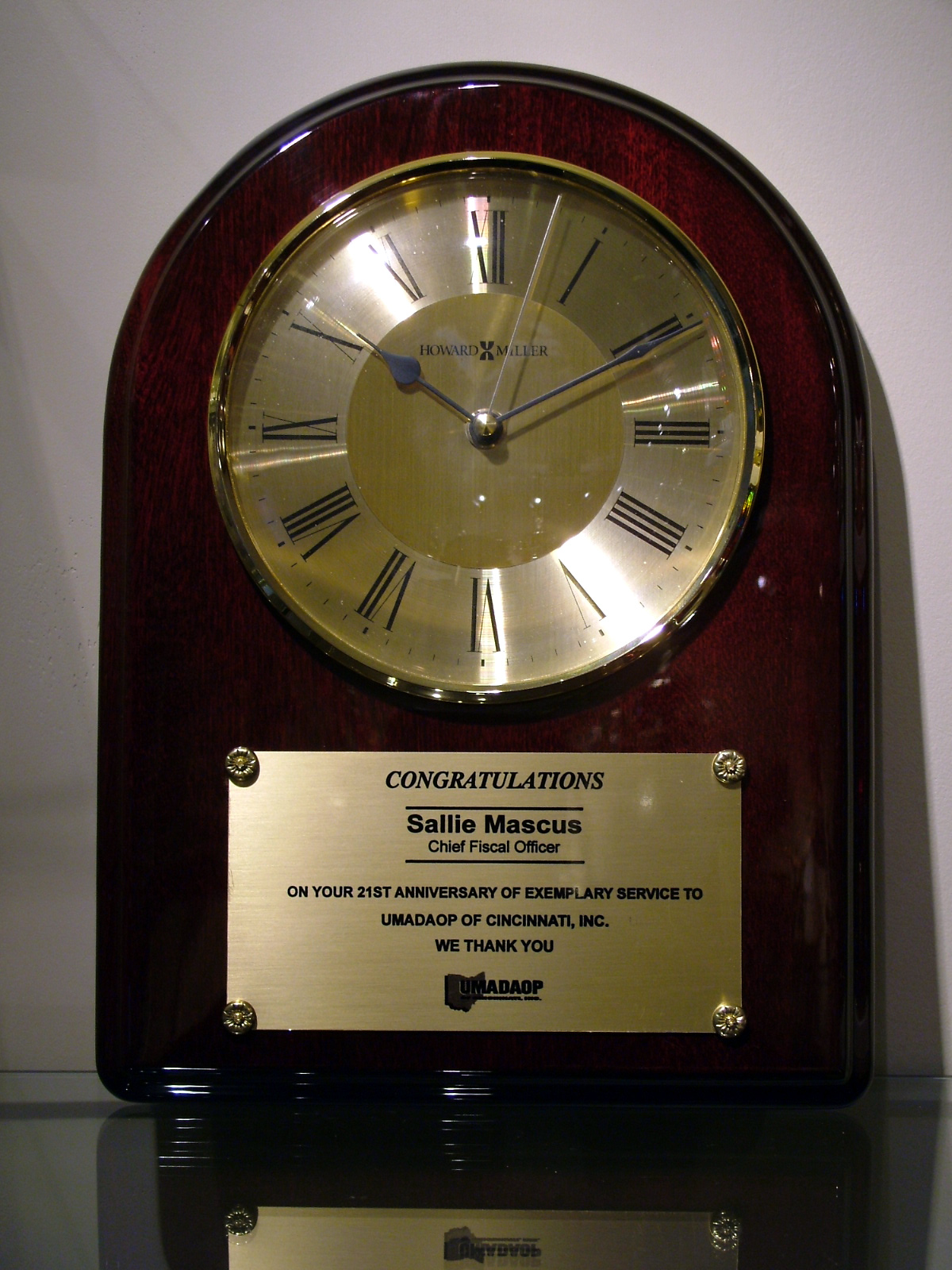 Rosewood Howard Miller Clock Plaque