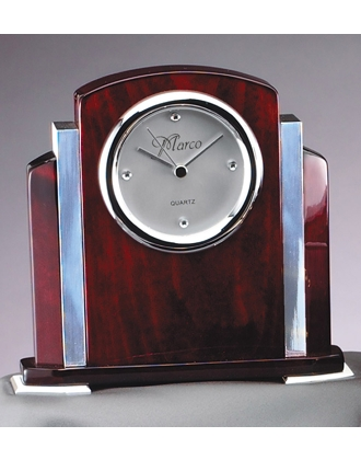 Rosewood with Chrome Accent Clock