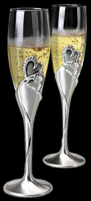 Hearts Toasting Flutes