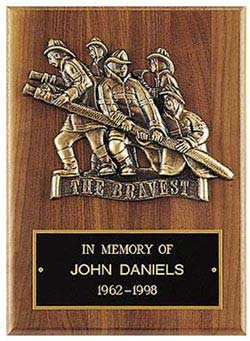 Walnut Fireman Plaque